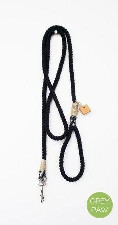 Rope dog leash dog collar pet accessory dog lead: Small black cotton rope leash