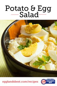 GF Eggland's Best Potato Egg Salad - I will substitute the lite mayo for full fat greek yogurt. More protein and healthier. Some diced peppers and tomatoes will enhance the flavors and add nutrients. Egg Recipes, Potato Recipes, Wine Recipes, Paleo Recipes, Cooking Recipes, Starch Recipes, Easter Recipes, Delicious Recipes, Salads