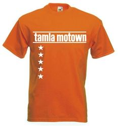 Tamla Mowtown 5* Tee Shirt Available in black, red, orange (pictured) purple, brown and blue