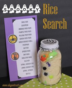 Spooky Rice Search PLUS 40 other Halloween Crafts and Recipes