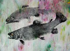 Two Rainbow Trout Original GYOTAKU (Fish Rubbings) Fisherman gift 19X22 on hand stained cloth