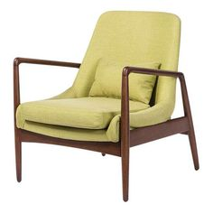 Image of Mid-Century Modern Green Carter Fabric Accent Chair