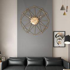Unique Nordic Iron Art Hanging Wall Clock Modern Mute Clocks Large Clocks For Living Room Mediterranean Style Home Decor Rustic Wall Clocks, Rustic Walls, Metal Wall Decor, Iron Art, Large Clock, Geometric Wall, Hanging Art, Metal Walls, Decor Styles
