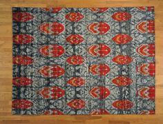 Ikat Design Modern Sari Silk Hand Knotted 8' x 10' Oriental Rug Silver