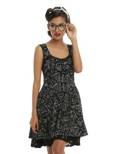 <p>Nothing is hotter than a smarty-pants, so show off your brainsand beauty in this dress! Black fit and flare dress features awhite science and math equation print with the perfect feminine details: a lace panel across the sweetheart neckline, corseted lace-up back and a peek-a-boo lace hem. Smart ladies know, pockets are essential, and this dress has 'em! Side zipper closure.</p>  <ul>  <li>Self: 97% cotton; 3% spandex</...