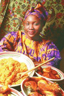 Nigerian jollof rice and fried plaintain