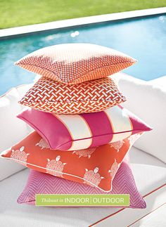 Amazing outdoor fabrics from Thibaut Design's Portico Collection. These fabrics look and feel just as good as any indoor fabric and can be left out for the summer. Pool Pillow, Orange Pillows, Wallpaper Online, Outdoor Fabric, Indoor Outdoor, Outdoor Spaces, Outdoor Living, Sunbrella Fabric, Home Decor Fabric