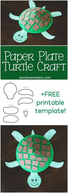 Paper Plate Turtle Craft for Kids (+ Free Printable Template is part of DIY Kids Crafts Plates - Fun paper plate turtle craft for kids! Plus a free printable template! Only a few supplies necessary for this fun and adorable paper plate turtle craft! Paper Plate Art, Paper Plate Animals, Paper Plate Crafts For Kids, Mothers Day Crafts For Kids, Book Crafts, Paper Plates, Paper Crafting, Craft Kids, Letter T Crafts