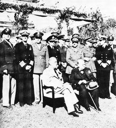 Roosevelt and Churchill at Casablanca Conference, 14 Jan 1943; rear row L to R: Gen Arnold, Adm King, Gen Marshall, Adm Pound, Air Chief Marshall Portal, Gen. Brooke, Field Marshall Dill, Adm. Mountbatten.