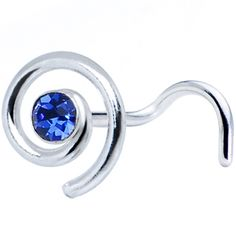 Sterling Silver Swirl Sapphire Nose Ring Made with SWAROVSKI ELEMENTS #bodycandy #piercing #nosering