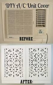 Wall AC unit cover before & after. Air Conditioner Cover Indoor, Diy Air Conditioner, Best Window Air Conditioner, Ac Unit Cover, Window Ac Unit, Wall Unit Ac, Window Ac Cover, Diy Ac, Up House