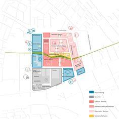 competitionline - Recognition: Structure plan uses, © RMP Stephan Lenzen Landschaftsarchitekten - Urban Design Diagram, Urban Design Plan, Conceptual Sketches, Conceptual Design, Urban Architecture, Architecture Portfolio, Origami Architecture, Dashboard Design, The Plan