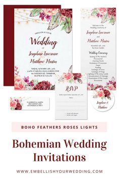 Bohemian wedding invitations with watercolor design of blush and burgundy roses, feathers and string lights. Please visit our website to see the full range of matching items. #wedding #weddinginvitations #weddingstationery #weddinginvites #bohowedding #bohemianwedding #bohoweddinginvitations #bohoweddinginvites #bohemianweddinginvitations #featherweddinginvitations #stringlightweddinginvitations