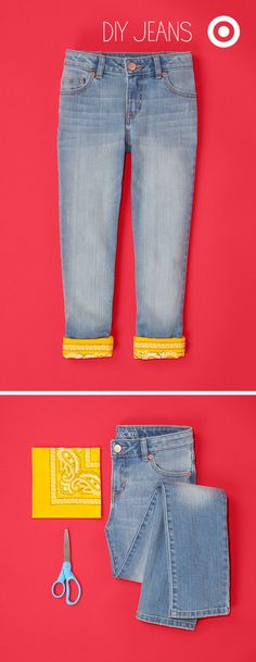 Lining the bottom cuff of kids' jeans with a brightly colored bandana is a back to school original.