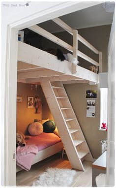 When I was in college, my roommate and I got a loft bed system, and I thought it was the coolest thing ever. Not only did we have lots of floor space to hang out and study, I loved having the privacy and coziness of my own secret bed platform. For small spaces, a loft can be a great way to open up floor space, but even if you don't feel you need the extra room, a loft can be a great hideaway for a kid. Here are a few ideas to get you thinking about whether raising the bed could be for you…
