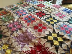 LG Vintage Old Fabric 12 Point Star Quilt Top Hand Stitched 102 x 81 Estate Find | eBay