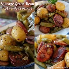 Sausage Green Bean Potato Casserole is an easy and delicious side dish recipe, full of sausage, green beans and potatoes. Sausage Potatoes Green Beans, Oven Green Beans, Beans And Sausage, Potato Casserole, Easy Casserole Recipes, Casserole Dishes, Sausage Casserole, Smoked Sausage Recipes, Pork Recipes