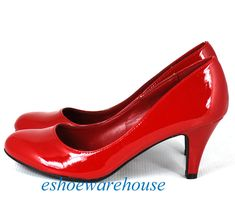 Round Toe Cutie Comfy Mid Heel Pumps Shoes Lipstick Red Patent    $29.99