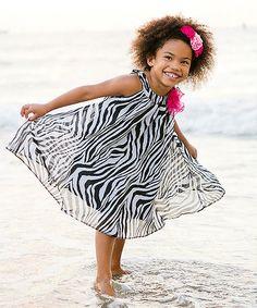 Look at this #zulilyfind! Zebra & Fuchsia Flower Swing Dress - Toddler & Girls #zulilyfinds