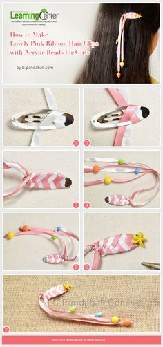 How to make lovely pink ribbon hair clips with acrylic beads for girls ribon crafts, Ribbon Hair Clips, Hair Ribbons, Diy Hair Bows, Ribbon Bows, Pink Ribbons, Diy Hair Clips, Ribbon Flower, Girls Hair Clips, Ribbon Barrettes