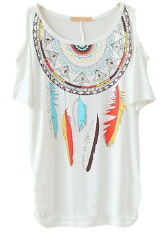 White Off the Shoulder Rivet Feather Print T-Shirt - Sheinside.com