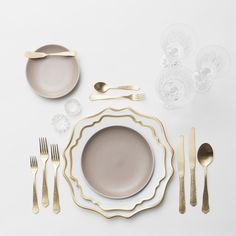 Anna Weatherley Chargers/Dinnerware in White/Gold + Heath Ceramics in French Grey + Chateau Flatware in Matte Gold + Czech Crystal Stemware + Antique Crystal Salt Cellars  SHOP:Anna Weatherley Chargers/Dinnerware in White/Gold