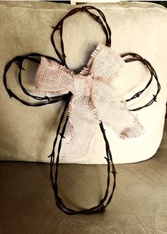 Rustic Barbed Wire Cross by TheWildRustic on Etsy