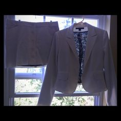 """Skirt Suit from Express Winter white heavy weight skirt suit, fully lined in like new condition! The jacket is a size 12 and will fit a 38"""" bust line and the skirt is a size 10. This material is very forgiving. Express Skirts"""