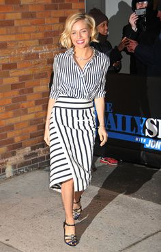 Sienna sees the wrap-and-tuck and raises you one asymmetrical skirt.                  Image Source: Getty / Demis Maryannakis/Star Max