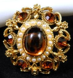 Vintage Topaz Rhinestone Faux Pearl Brooch Pin or Pendant Signed Barcs So Pretty $38.00 SOLD