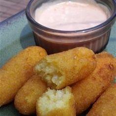 Deep Fried Corn Meal Sticks (Sorullitos de Maiz) with Dipping Sauce - Allrecipes.com