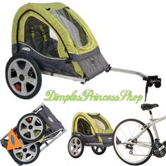 It's designed with a sporty 2-in-1 green and gray canopy that features both a mesh screen and a weather shield to help protect your child from those pesky bugs and rain. Durable 16-inch pneumatic tires offer a smooth ride while molded rims finish off the look. This lightweight single bicycle trailer has a coupler hitch that attaches to almost any bike. Inside, a harness helps keep your child seated securely as you pedal along. Then, when your day of biking fun is through, you can easily…