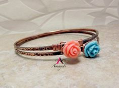 Wire wrapped rose copper bangle bracelet choose color by Amayeli
