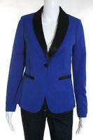 Greylin Blue Black Tuxedo Lapel One Button Blazer Size Extra Small