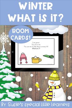 """Winter """"What is it? language activity, ideal for use in the classroom and speech therapy, or with distance and hybrid learning. Build vocabulary, practice answering questions, expand utterances and using pronouns, all with this one activity! Ideal for use with students that receive ABA or discrete trial teaching. Engaging, interactive and fun preschool activity that you can use year after year!  NO PREP BOOM CARDS!"""
