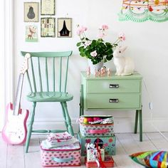 Colourful childrens or kids bedroom with rustoleum