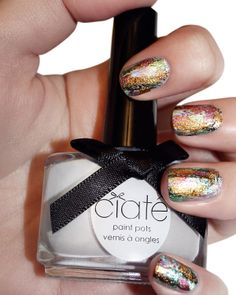 #Ciaté Colourfoil Manicure can take your love of metallics to another level with a pop of color. #nailart