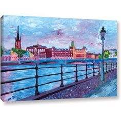Martina Bleichner Stockholm City View Gallery Wrapped Canvas, Size: 24 x 36, Pink