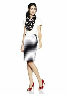 Love this mix of polka dots and stripes {plus, red heels}!