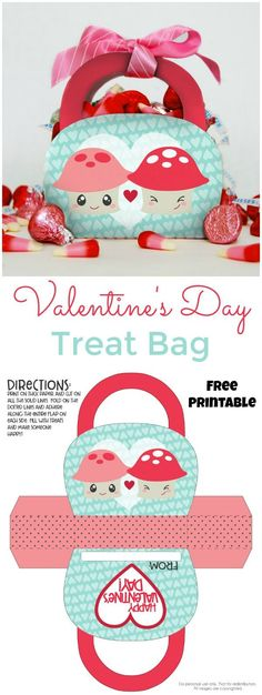 The cutest way to give a Valentine's Day gift, a Valentine's Day Treat Bag. This free printable is an easy teacher gift or can hold classroom treats.