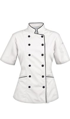Women's Tailored Chef Coat with Piping $29.99 http://www.chefuniforms.com/chef-coats/womens-chef-coats/86515-womens-coat-piping.asp?frmcolor=whibl