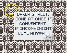 Sherlock quote with wallpaper pattern border - counted cross stitch pattern