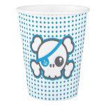 Blue Pirkate Skull Halloween Party Cups #halloween #happyhalloween #halloweenparty #halloweenmakeup #halloweencostume