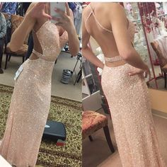 Pretty Sexy Long Prom Dresses,Sequin Shiny Prom Gowns,Charming Sparkly Evening Gowns
