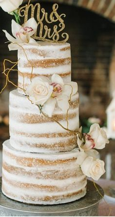 Naked Cake with Orchids