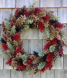 Pinecone Wreath Natural Browns and Barn red - Holiday Wreath, Christmas Wreath Christmas Wreaths For Front Door, Valentine Day Wreaths, Holiday Wreaths, Christmas Decorations, Pine Cone Art, Pine Cone Crafts, Pine Cones, Pine Cone Wreath, Fall Crafts