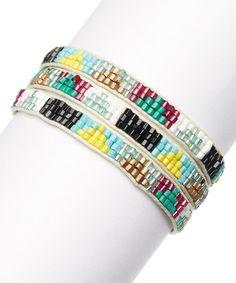 Look what I found on #zulily! Pink & Mint Tribal Beaded Wrap Bracelet by ZAD #zulilyfinds