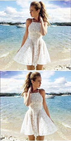A-line Halter Lace Ivory Short Prom Dress Party Dress simple popular homecoming dresses HD0335 #dresses #homecoming dresses #short\/mini prom dresses