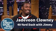 "Jimmy Does 40-Yard Dash with Jadeveon Clowney. Are you a millionaire right now?"" 'Nah, not yet. I'm still broke."""