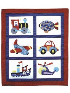 "Everything a little boy loves -- trains, planes and automobiles, PLUS ships, helicopters, and even a blimp! Use simple-to-do applique to make this beginner-easy quilt. Pattern uses turned applique, not fused. Finished size is 26"" x 30""."